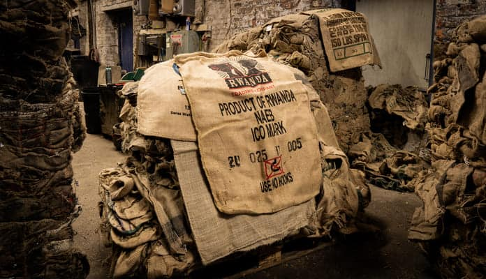 Bales of Hessian sacks waiting to be recycled